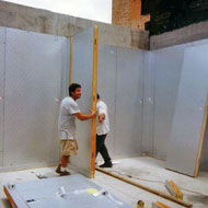 Walk-In Contruction: Wall Being Placed